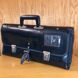F. Dick 🖤 Black Leather Knife Roll Up Travel Bag